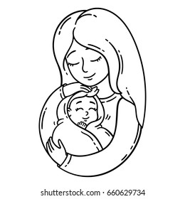 mother holding baby isolated objects on white background vector illustration coloring pages