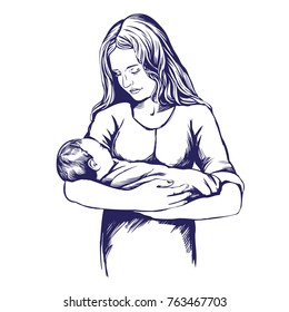 mother holding a baby, mother's day, hand drawn vector illustration realistic sketch.