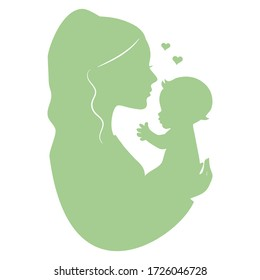 Mother holding baby silhouette vector illustration