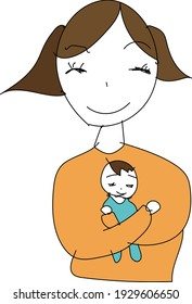Mother holding a baby and smiling
