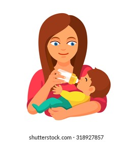 Mother holding and feeding baby with milk bottle. Flat style vector cartoon illustration isolated on white background.