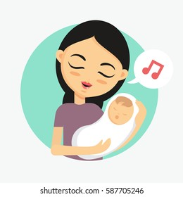 Mother holding her sleeping baby and singing a lullaby. How to take care of the child illustration