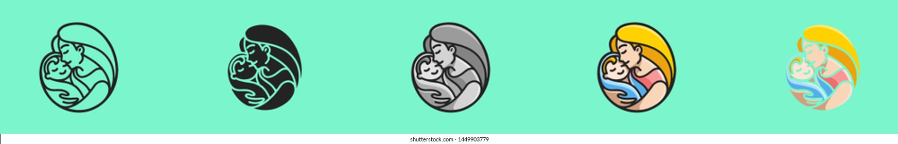 Mother holding a little baby. Concept logo for orphanage, adoption, motherhood project, save child UI UX. Six icons - linear, solid, black and white, color line, multicolored. Flat vector illustration