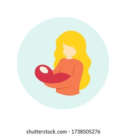 Mother Holding A Little Baby with Her Arm. Simple Flat Design. Colorful Vector Illustration.