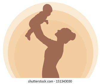 Mother holding newborn baby child symbol