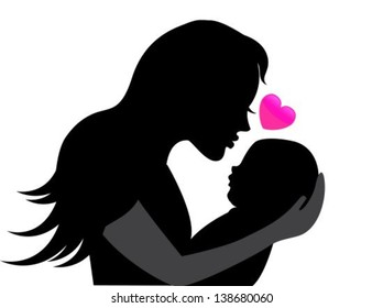 mother holding a young child. Near the heart symbolizing the mother's love