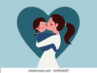 mother hug daughter flat character design