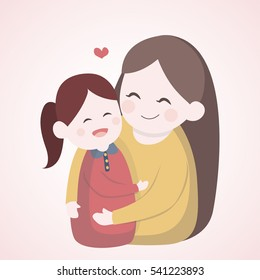 Mother hugging with her daughter, Vector character illustration.