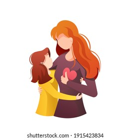 Mother hugging her little daughter. Motherhood, Parenthood, Childhood, Mother's Day, Happy family concept. Isolated vector Illustration for poster, banner, card, cover.