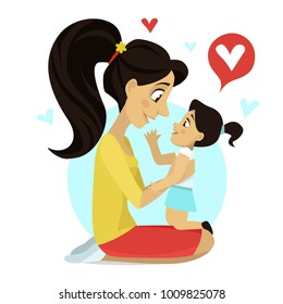 Mother hugs daughter. Mother's love. Mom's hug. Vector illustration. Card on Mother's Day