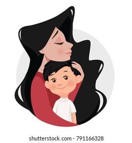 Mother hugs son. Cartoon style, flat vector illustration.