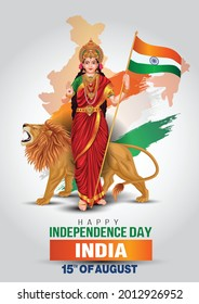 Mother India on Indian map background for Happy Independence Day of India. vector illustration design