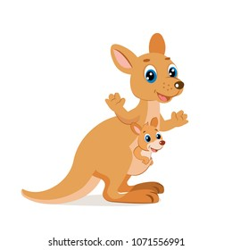 Mother Kangaroo With Her Little Cute Baby Kangaroo. Happy Mam Wallaby Character.  Cartoon Australian Animals Vector.