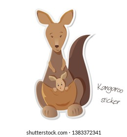 Mother kangaroo with joey in her pouch isolated on white background. Cute native Australian animals hand drawn vector illustration