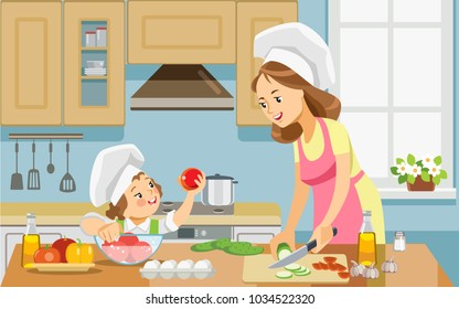 Mother and kid girl preparing healthy food at home together. Concept motherhood child-rearing. Vector illustration