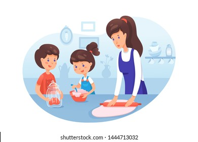 Mother with kids cooking flat vector illustration. Cooking workshop. Culinary kids classes. Sister and brother helping baking cookies in kitchen. Parent with children cartoon characters