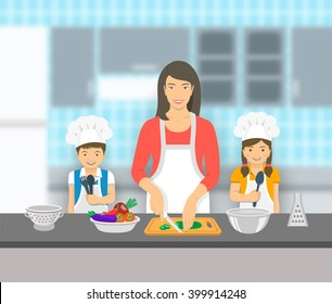 Mother and kids cooking together at a kitchen. Mom cuts vegetables for salad, happy little son and daughter help her. Asian family domestic pastime background. Vector flat illustration