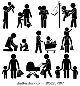 Mother for Kids in Real Every Day Life from First Steps. Happy Mother's Day Concept. Stick Figure Pictogram Icon