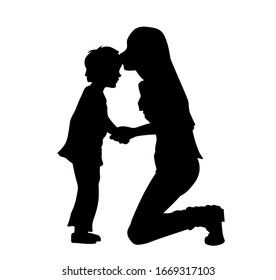 Mother kissing her son on the forehead silhouette vector illustration.