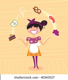 Mother - kitchen super hero. Super Mother juggling with ingretients in the kitchen. Perfect housewife! Lifestyle vector illustration in vintage style.