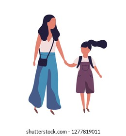 Mother leading her daughter to school. Portrait of modern family. Mom and little girl walking together. Parent and schoolgirl holding hands isolated on white background. Flat vector illustration.