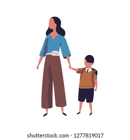 Mother leading her son to school. Portrait of modern family walking together. Parent and little pupil boy holding hands isolated on white background. Colorful vector illustration in flat style.