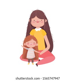 mother and little girl characters on white background vector illustration