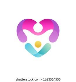Mother love child logo design, logo concept of moms and children in heart shape, kid adoption, social foundation, childcare vector illustration.