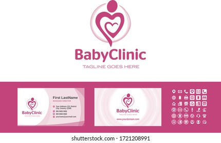 Mother love. Happy mothers day. Mom heart care. Birth attendant. Birthing assistant. Logo and business cards template vector.