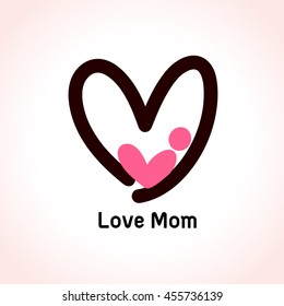 Mother love icon, baby in heart shape logo design. Vector illustration.