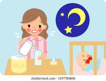 Mother making milk powder at night