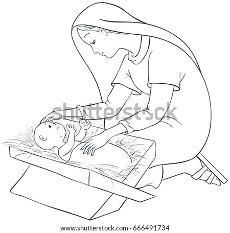 Mother Mary Child Jesus Manger Coloring Stock Vector Royalty Free