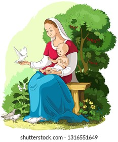 Mother Mary holding baby Jesus vector cartoon christian illustration. Also available coloring book version
