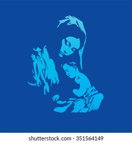 Mother Mary with Jesus Christ in blue