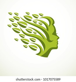 Mother Nature concept, beautiful woman head profile with branches and leaves of natural plant. Vector logo or icon design. Blossoming and growth of everlasting nature, tree and forest planting.