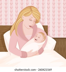Mother with newborn baby in a bed.  Features blond mother and baby in pinks.