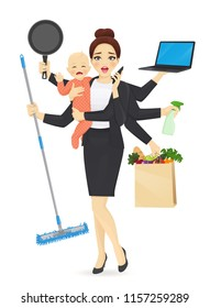 Mother with newborn baby in business clothes cleaning, shopping, talking by phone, cooking and working vector illustration