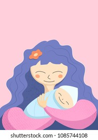 Mother and newborn baby textured vector illustration. Happy Mother's Day greeting card template. Happy mom and baby smile. Happy motherhood violet card on blue background. Congratulation with newborn