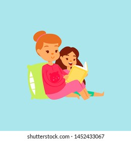 Mother or older sister in pink night-suit reading her daughter the bedtime story in bed. Vector cartoon illustration. Family happy time reading books in bed and being together.