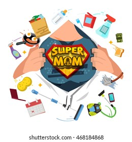 Mother open shirt to show Super Mom icon with housework objects in comic style - vector illustration