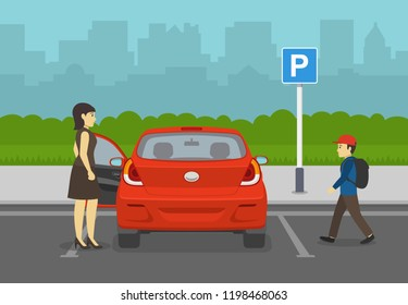 Mother opens car door while her son is coming. Back view of a red car on parking zone. Flat vector illustration.
