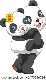 Mother panda carrying cute baby panda