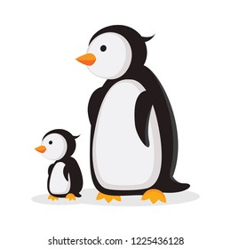 Mother penguin and baby penguin