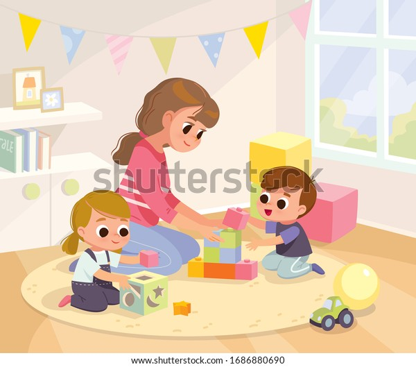 Mother playing with kids at home. Educational toys. Children playing designer cubes, developmental constructor, sorter. Children bedroom interior.