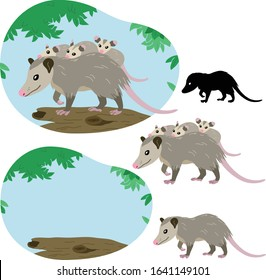 Mother possum with her cubs on her back climbs a tree against a background of fresh foliage and blue sky