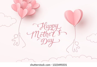 Mother postcard with flying children and paper balloons on pink background. Vector symbols of love in shape of heart for Happy Mother's Day greeting card design.