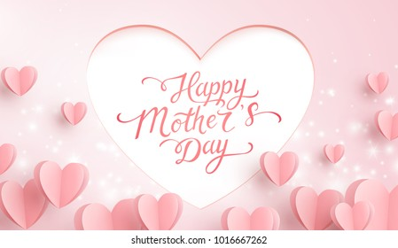 Mother postcard with paper flying elements, glowing lights on pink background. Vector symbols of love in shape of heart for Happy Mother's Day greeting card design.