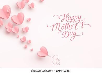Äiti postikortti paperilla lentävät elementit, mies ja ilmapallo vaaleanpunaisella taustalla. Vektori symboleja rakkauden muotoinen sydän Happy Äitienpäivä tervehdys kortti suunnittelu.