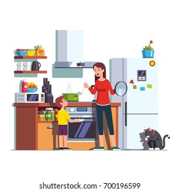 Mother pouring freshly cooked soup in pot with ladle into bowl that son is holding. Woman feeding kid. Mom and child at home kitchen interior with cooktop, oven, fridge. Flat vector illustration.