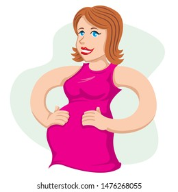 Mother pregnant woman caressing her belly. Ideal for catalogs, informative and pregnancy guides